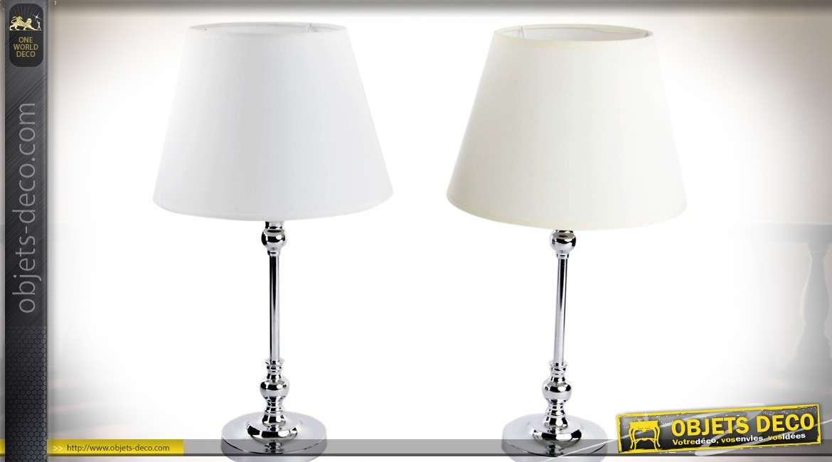 lampes de salon modernes en m tal chrom et abat jour blancs 45 cm. Black Bedroom Furniture Sets. Home Design Ideas