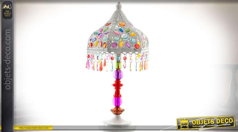 Lampe En Gris Indien Métal Style Table Pampilles Et Oriental De rQhxCotsdB
