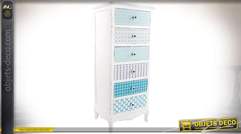 Chiffonnier blanc et rétro à 6 tiroirs à façades en papiers peints ...
