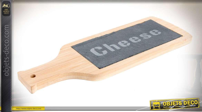 Plateau à fromage en bambou et ardoise, coloris bois clair, avec manche 27,5 cm