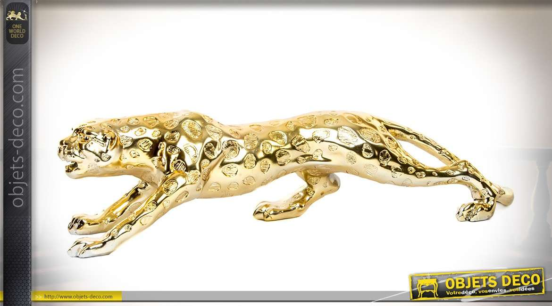 Longue statuette de panthère finition dorée et brillante 59 cm