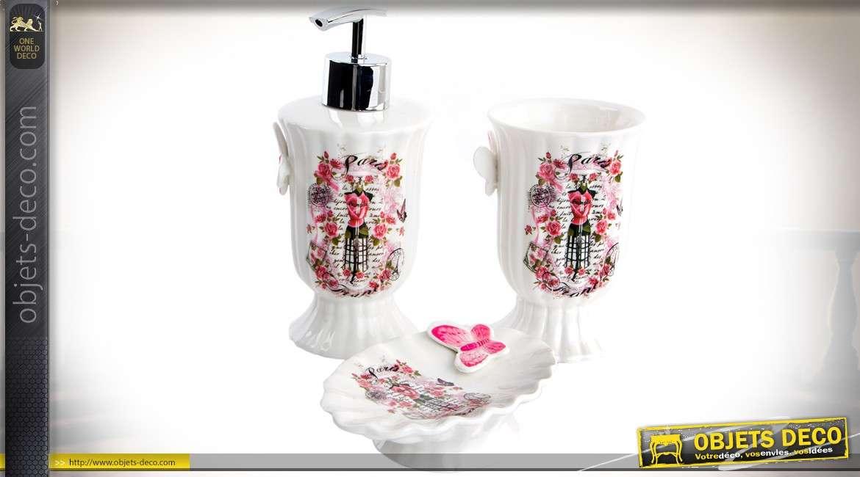 Set de 3 accessoires en porcelaine pour salle de bain de ...