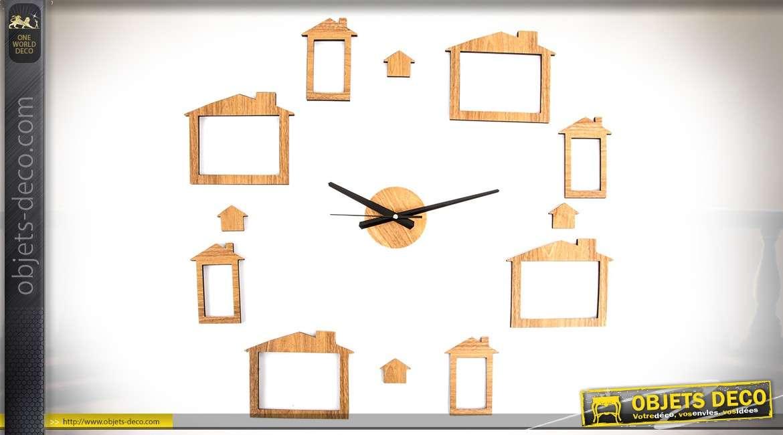 horloge murale sticker imitation bois naturel avec 8 emplacements porte photos. Black Bedroom Furniture Sets. Home Design Ideas