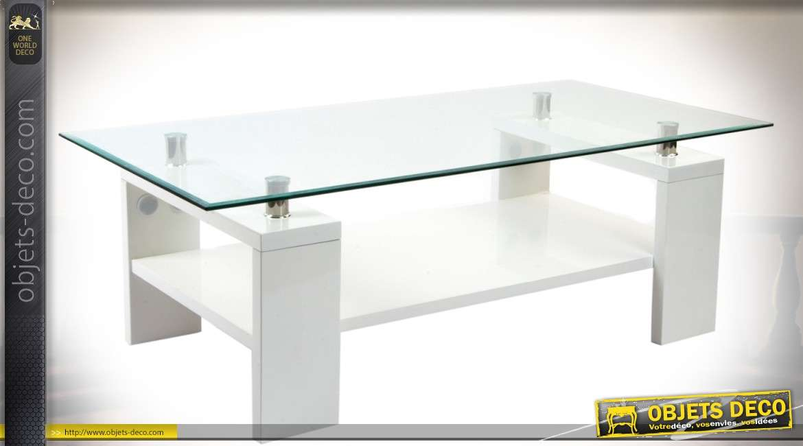 table basse contemporaine double plateaux bois laqu blanc et verre tremp. Black Bedroom Furniture Sets. Home Design Ideas