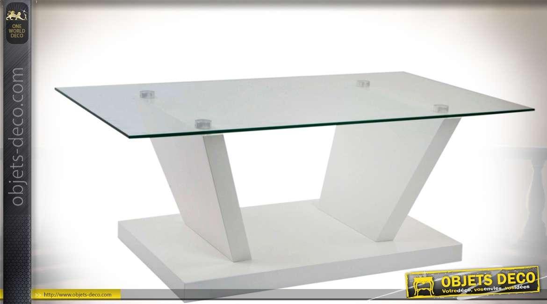 Table basse de style design et scandinave en bois laqu blanc et verre tremp - Table en verre trempe blanc ...
