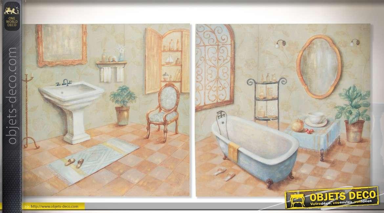 Duo de peintures sur toiles style r tro ancienne salles for Peinture sur toile pour salle de bain