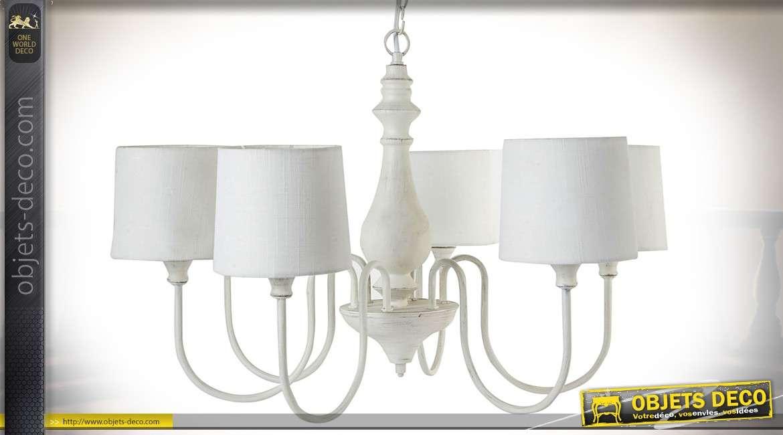 lustre r tro de style romantique six bras avec abat jour blanc 66 cm. Black Bedroom Furniture Sets. Home Design Ideas