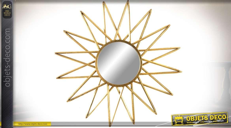 Miroir design en métal doré en soleil étoilé Ø 80 cm