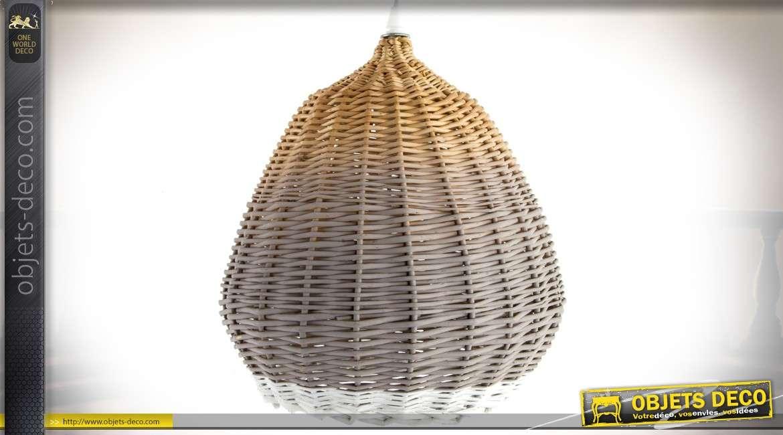 Suspension en forme de ruche en osier naturel et laqué blanc Ø 28 cm