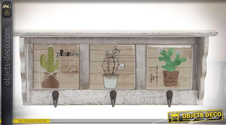 Petite étagère Décorative De Cuisine Style Rétro Avec 3 Crochets En