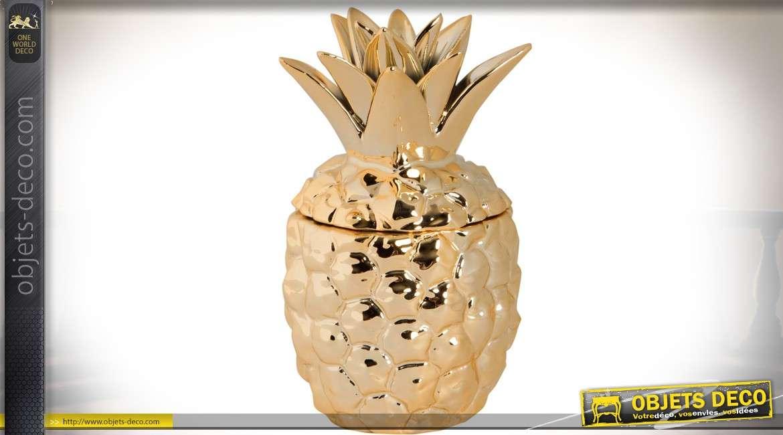 objet d coratif dor et brillant en forme d 39 ananas stylis. Black Bedroom Furniture Sets. Home Design Ideas