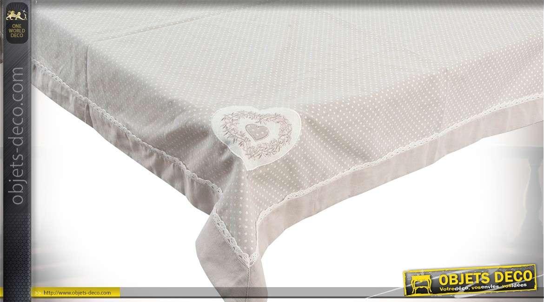 Nappe carrée en 100 x 100 cm en coton coloris gris clair à pois blancs