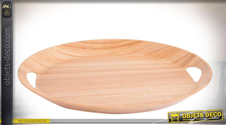 Plateau de service en bois clair, forme ovale avec poignées en ajours Ø 47 cm