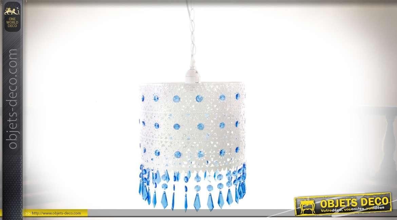 Suspension blanche à pampilles bleues en métal ajouré style oriental Ø 25 cm