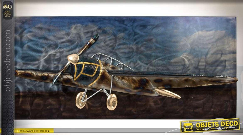 d co murale ancien avion h lice en m tal et en relief en trompe l 39 oeil. Black Bedroom Furniture Sets. Home Design Ideas