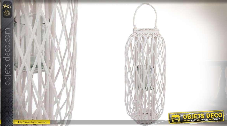 Lanterne blanche en osier de forme cylindrique à poser ou à suspendre 79 cm