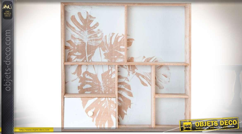 Petite étagère murale compartimentée en bois clair style