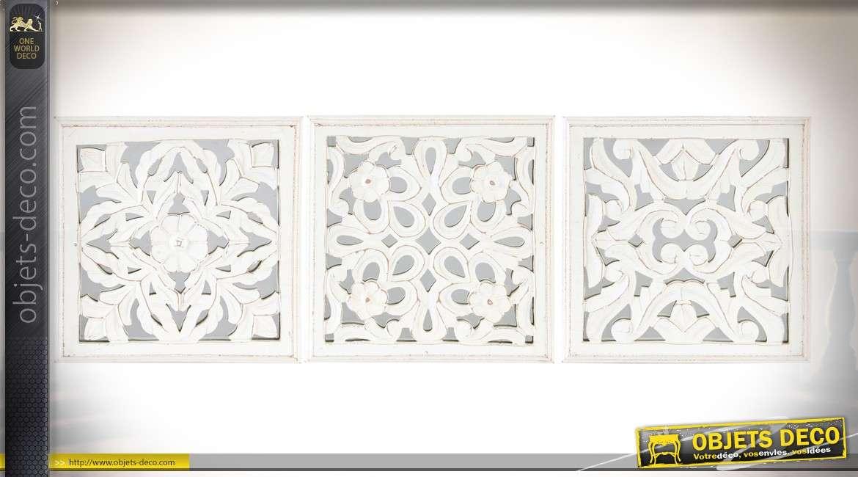 Série de 3 décorations murales en forme de fresques blanches sur miroirs 30 x 30 cm
