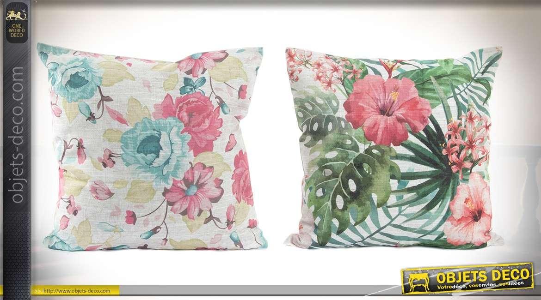 Duo de coussins à motifs de fleurs et feuillages 45 x 45 cm