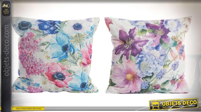 Série de 4 coussins décoratifs 45 x 45 cm à motifs fleuris multicolores