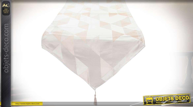 Duo de chemins de table en pointe en polyester à motifs géométriques 150 x 50 cm