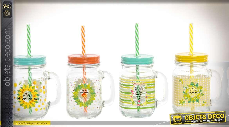 Série de 4 bocks avec pailles et couvercles, style scandinave coloris fluos