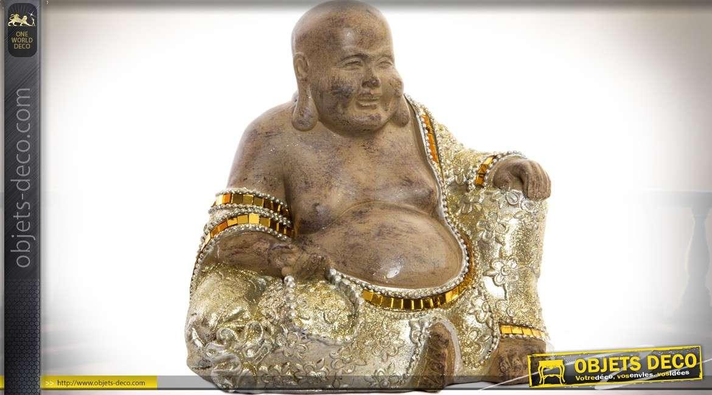 Statuette de bouddha rieur en r sine paillettes et miroir for Miroir paillette