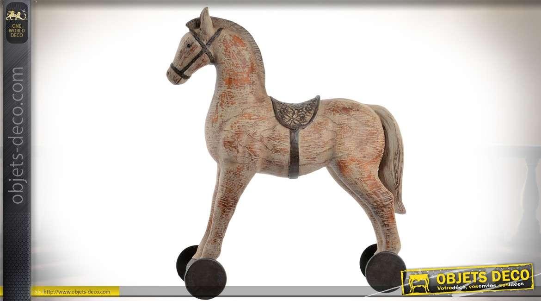 objet d coratif vintage cheval roulettes d 39 autrefois. Black Bedroom Furniture Sets. Home Design Ideas