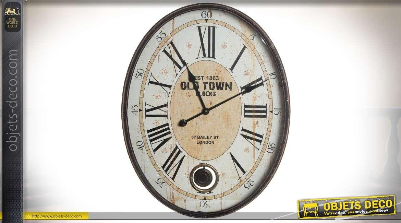 Grande Horloge Murale Ovale En Métal Aspect Rétro Avec Balancier 70 Cm
