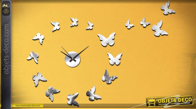 Horloge en miroir, avec éléments adhésifs sur le thème des papillons Ø 60 cm