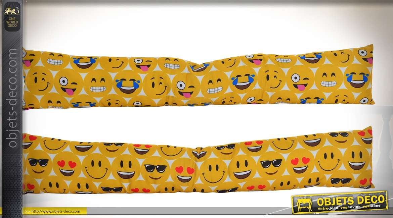 Set de 2 boudins de portes en tissu motifs smileys 85 cm