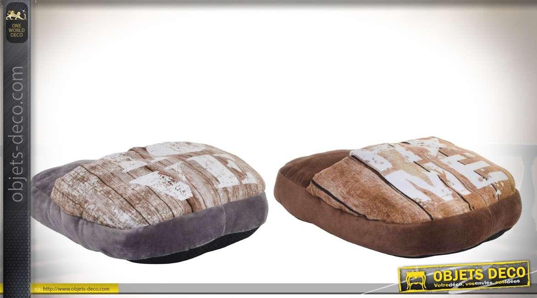 Lot de deux coussins chauffe-pieds en fausse fourrure coloris gris et marron