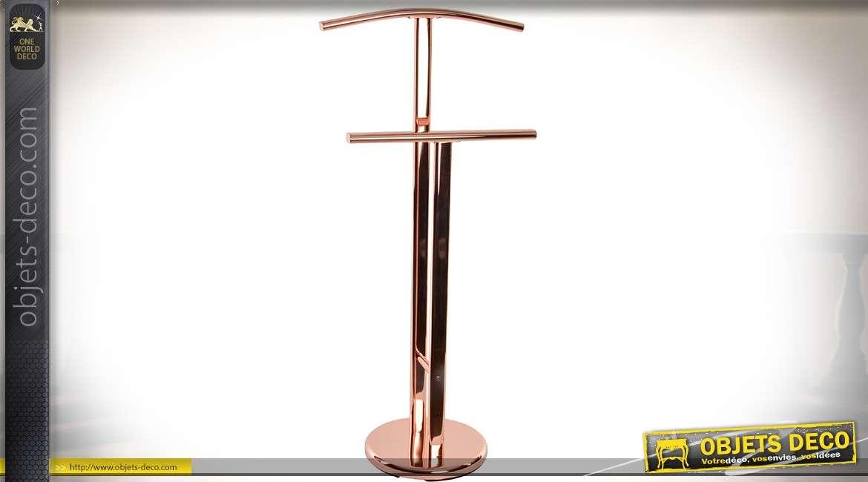 Valet de nuit design à deux portants en acier chromé cuivré 101 cm