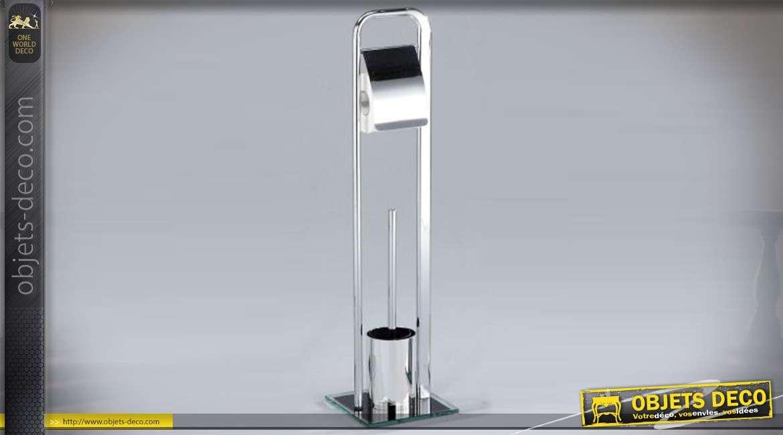Support design rouleau papier wc et brosse en métal chromé cm