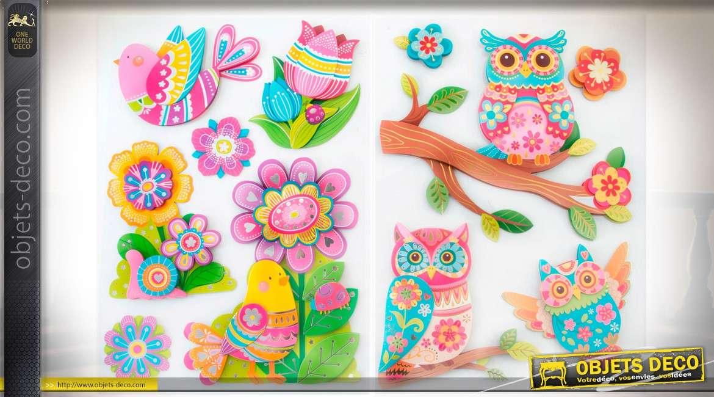 2 jeux de stickers muraux à motifs enfantins hiboux et oiseaux coloris pastels
