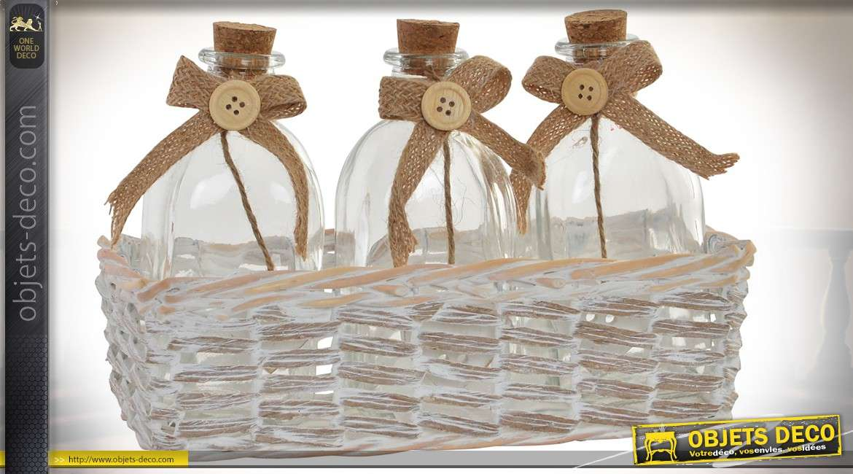 Panier d coratif en osier blanchi avec 3 bouteilles en - Panier decoratif osier ...