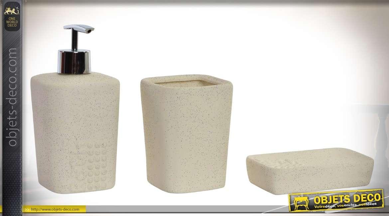 kit de 3 accessoires pour salle de bain en porcelaine et abs chrom. Black Bedroom Furniture Sets. Home Design Ideas