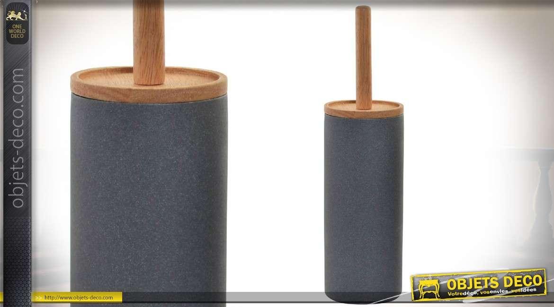 Brosse à wc en bambou avec boîtier cylindrique en résine simili
