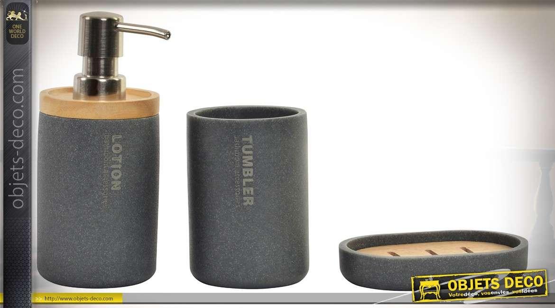 Set de 3 accessoires poursalle de bain en bambou et résine coloris ...