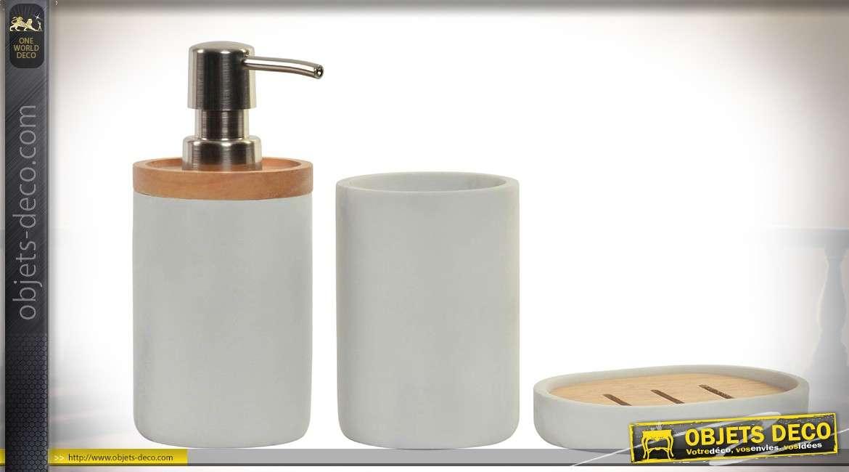 Set de 3 accessoires pour salle de bain en bambou naturel et r sine 17 cm - Set salle de bain bambou ...