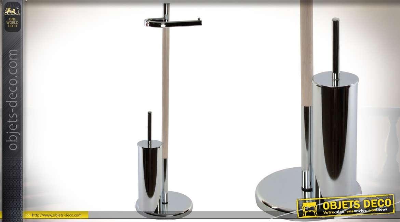 Porte rouleaux papier toilette avec brosse m tal chrom et bois 78 cm - Porte papier toilette et brosse ...