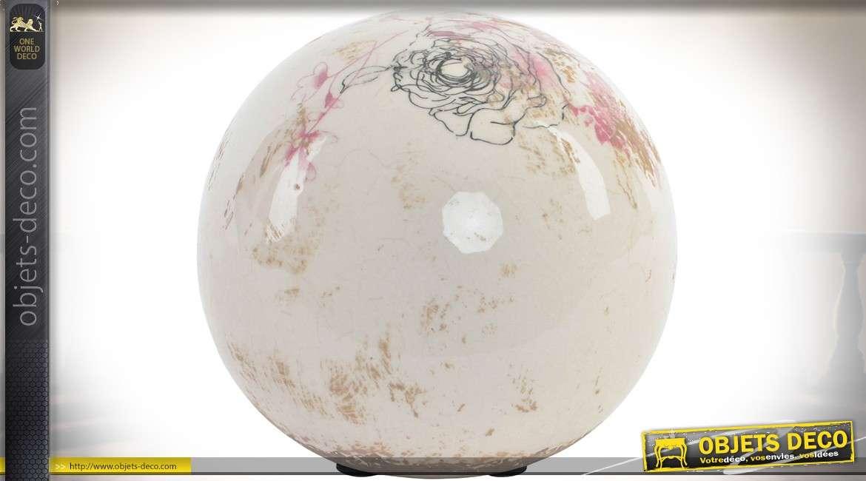 Objet décoratif : 3 boules en céramique coloris ivoire à motifs floraux vieux rose 12 cm
