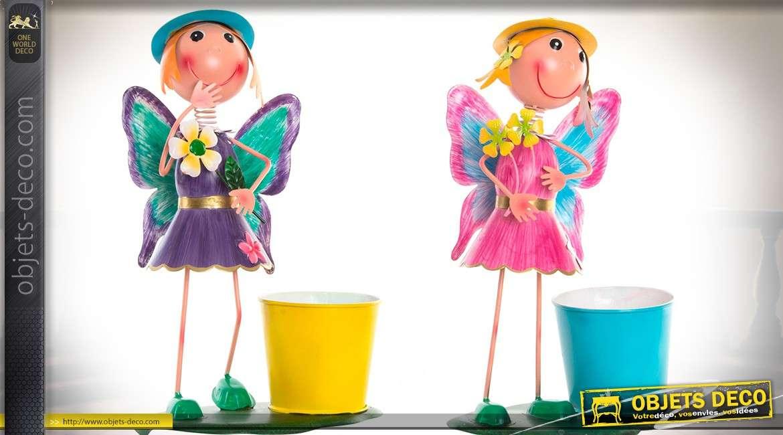 Duo De Personnages En Metal Avec Caches Pour Pots De Fleurs 31 Cm