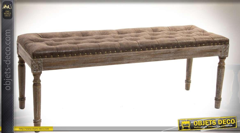 Bout de lit style Louis XVI bois finition chêne vieilli et simili-cuir capitonné 120 cm