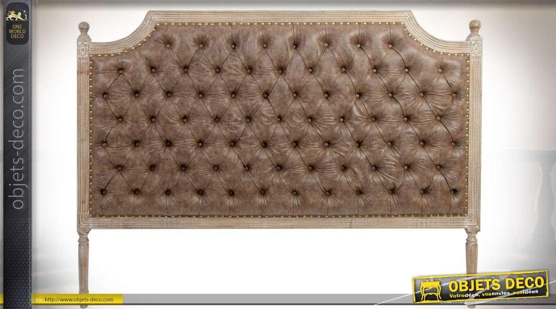 Tête de lit en bois et similicuir style Louis XVI finition chêne oxydé blanchi 160 cm