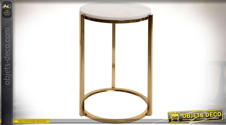 Bout de canap design circulaire en m tal dor et marbre - Bout de canape dore ...