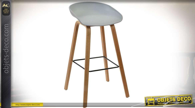 Duo de tabourets de bar en bois design vintage assise baquet 83 cm