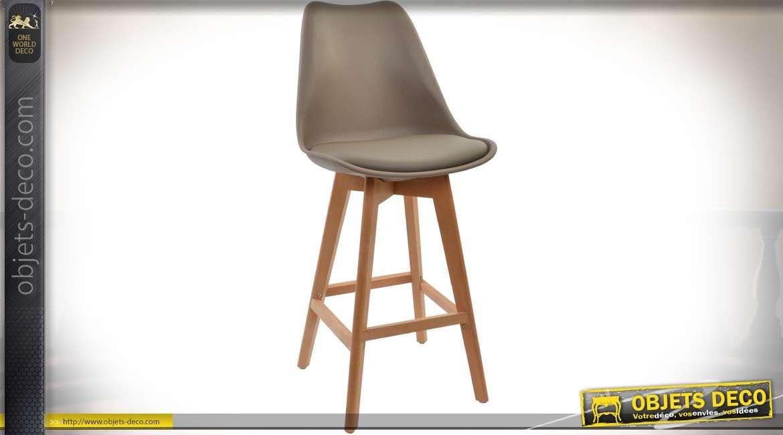 Chaise tabouret de bar bois et simili, coloris bois naturel ciré et chataîgne 105,5 cm