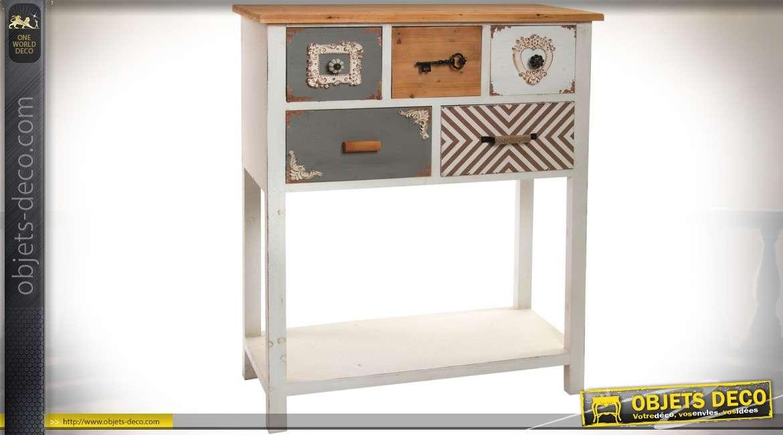 console originale double plateaux avec 5 tiroirs patines effet patchwork. Black Bedroom Furniture Sets. Home Design Ideas