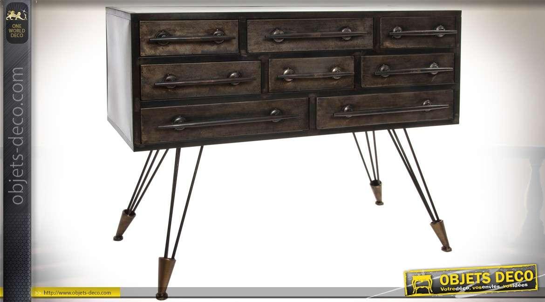 commode de style industriel en bois et m tal 8 tiroirs. Black Bedroom Furniture Sets. Home Design Ideas